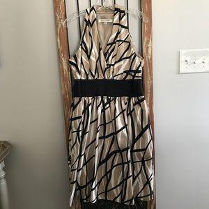 Tan & White & Black Patterned Dress